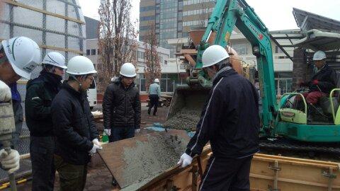 エコハウス実習(立ち上がりのコンクリート打設)